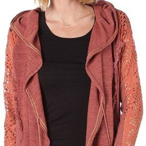 Miss Me Boho Hooded Mixed Media Front Tied Cardi